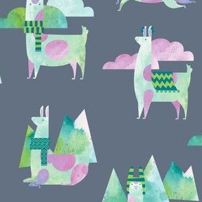 Watercolor Llamas in Gray!
