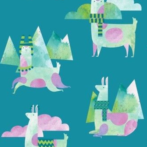 Watercolor Llamas in Teal