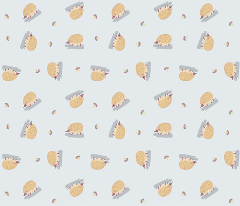 ditsy hedgehogs in gray fabric by pinkowlet on Spoonflower - custom fabric