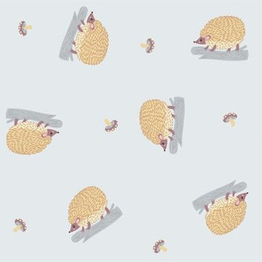 ditsy hedgehogs in gray