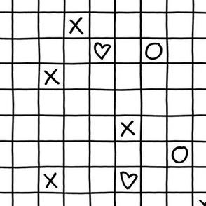 black white xoxo checkered small grid