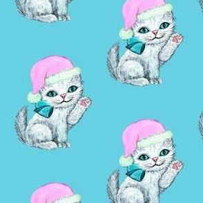 Santa kitten, Christmas cat, pink christmas, kitten vintage retro kitsch whimsical kittens white