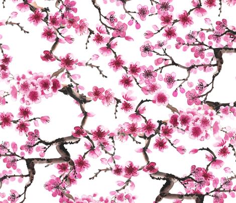 Sakura Branches fabric by svetlana_prikhnenko on Spoonflower - custom fabric