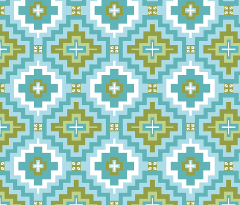 Marrakesh  Kilim Blue and green fabric by magentarosedesigns on Spoonflower - custom fabric