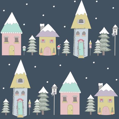 Winter Village fabric by amandacallcott on Spoonflower - custom fabric
