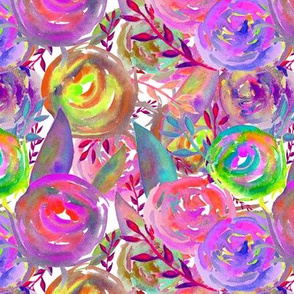 WATERCOLOR FLOWERS FUN PARTY on WHITE