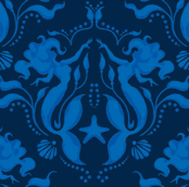 Mermaid Damask-Royal Blue/navy PG-ch