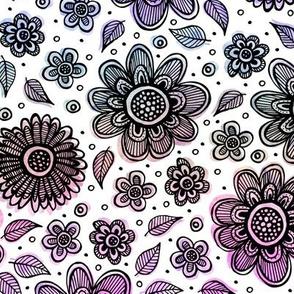 Watercolor Flowers (Rainbow)