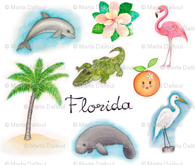 Florida Icons Fabric Martadalloul Spoonflower
