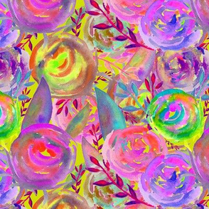 WATERCOLOR FLOWERS FUN PARTY LIME GREEN