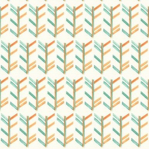Chevron in Orange and Teal