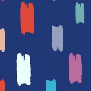 Brushstrokes on navy-blue
