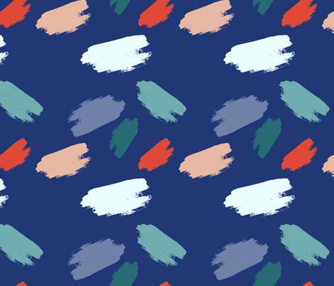 Dry brush strokes, navy blue fabric by picbykate on Spoonflower - custom fabric