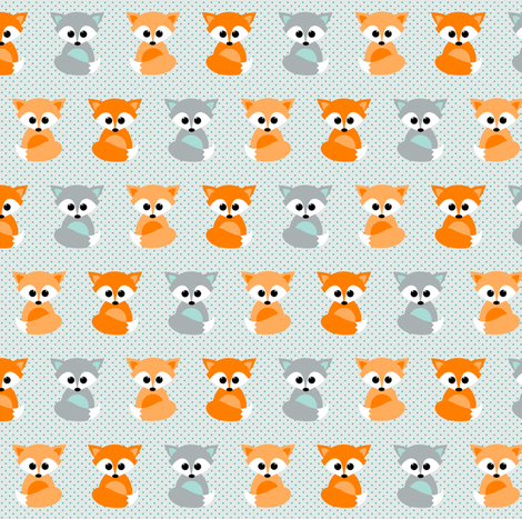 Baby foxes in orange and teal fabric by heleenvanbuul on Spoonflower - custom fabric