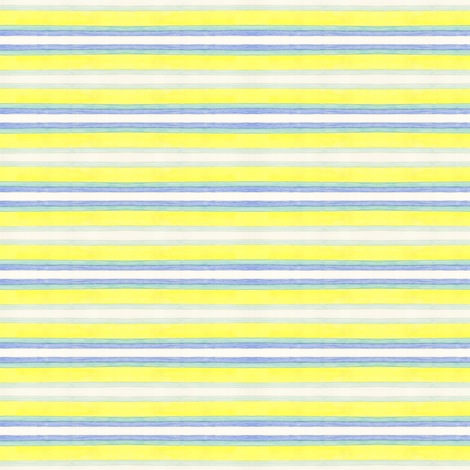 Blue and Yellow Stripes horizontal fabric by lilafrances on Spoonflower - custom fabric