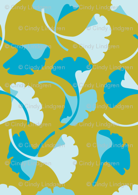 Ginkgo, gold and turquoise
