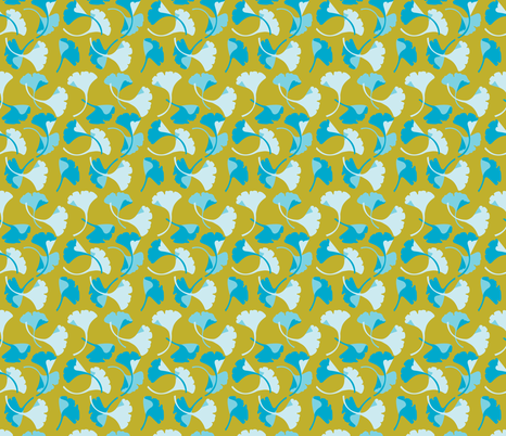 Ginkgo, gold and turquoise fabric by cindylindgren on Spoonflower - custom fabric