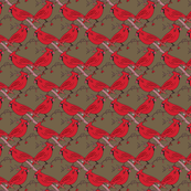 Red Cardinals on Brown_Miss Chiff Designs