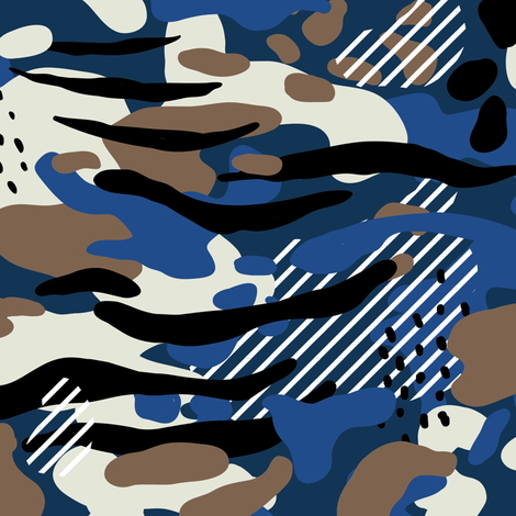 Navy Camo, abstract painterly with tiger stripes fabric by canigrin on Spoonflower - custom fabric