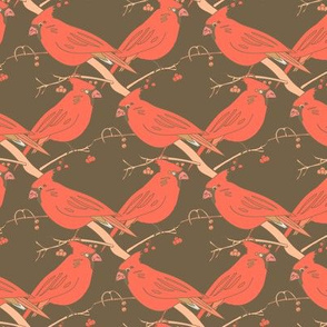 Red Bird Cardinal Meeting on brown_Miss Chiff Designs