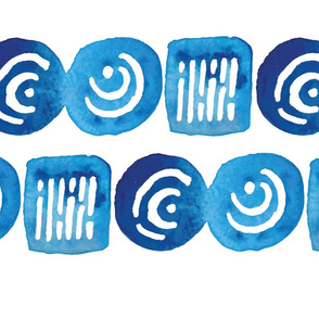 Watercolor Blues Ones and Zeros