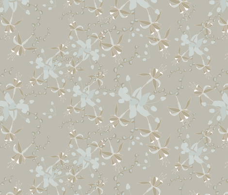 16-19G Taupe Blue Floral Fuscia Mountain Wedding_Miss Chiff Designs fabric by misschiffdesigns on Spoonflower - custom fabric