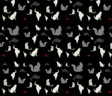 Mouse Hunt (black, white & red variant) fabric by mmarie-designs on Spoonflower - custom fabric