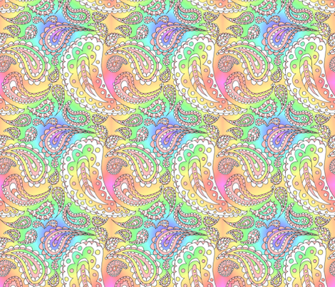 Paisley Doodle (Rainbow) fabric by esheepdesigns on Spoonflower - custom fabric