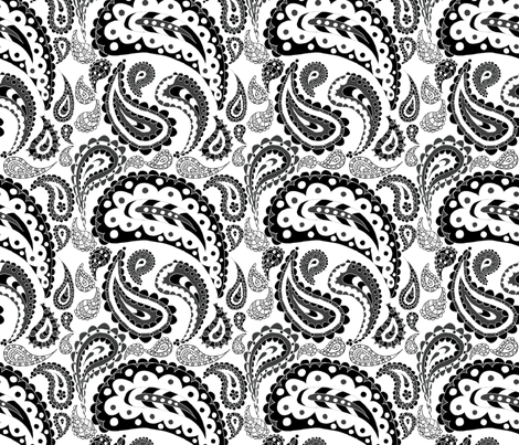 Paisley Doodle (Grayscale) fabric by esheepdesigns on Spoonflower - custom fabric