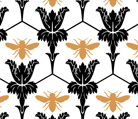 221Bee Wallpaper fabric by crowglassdesign on Spoonflower - custom fabric