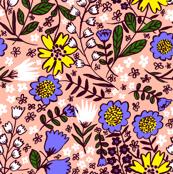 Amelia, pastel coral/cornflower