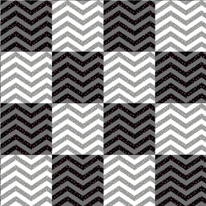 Cheater Quilt | Black and White Star Chevron