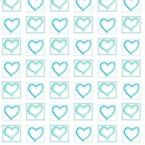Two hearts turquoise