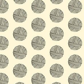 16-09b Ball of Wool Yarn Sheep Cream_Miss Chiff Designs