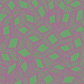 Diamond Lines Green on Mauve