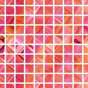 Watercolor Grid (Bright Red-Pink-Orange)