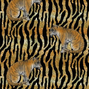 Bengal Tiger on Glittery Stripes