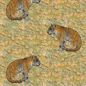 Bengal Tiger Among Flowers