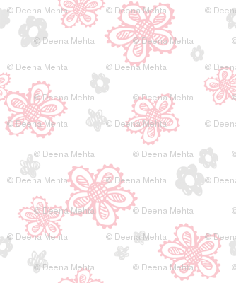 Cute Sketched Flowers in Pink and Gray