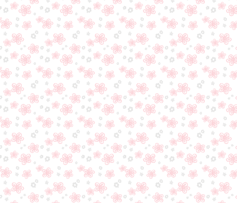 Cute Sketched Flowers in Pink and Gray fabric by littlepop on Spoonflower - custom fabric