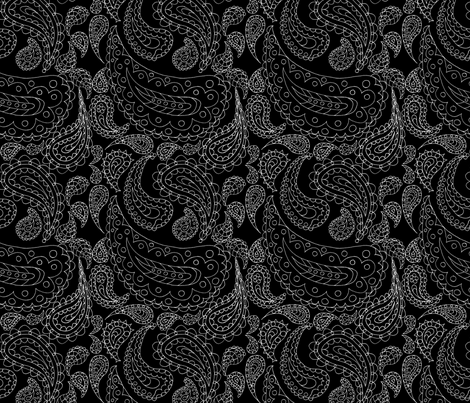 Paisley Doodle (Reversed Pen & Ink) fabric by esheepdesigns on Spoonflower - custom fabric