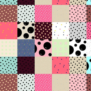 Dotted Patchwork Quilt Blocks | Cheater Quilt