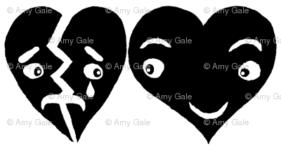 #SFDesignADay block print hearts black and white, large scale