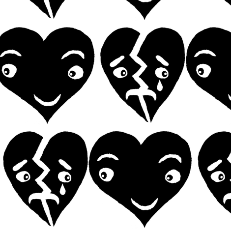 #SFDesignADay block print hearts black and white, large scale fabric by amy_g on Spoonflower - custom fabric