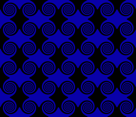 Black and Blue Spirals fabric by onestitchdesigns on Spoonflower - custom fabric