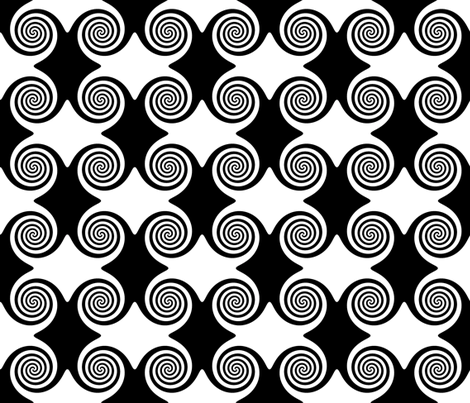 Black and White Spirals fabric by onestitchdesigns on Spoonflower - custom fabric