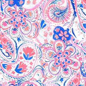 Paisley Watercolor Blue Coral