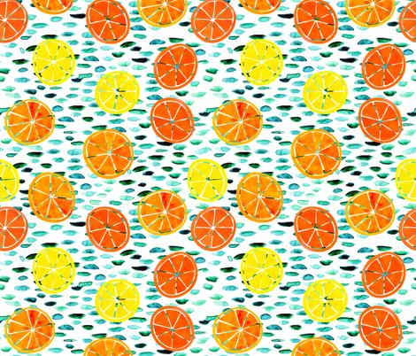 Citrus on White fabric by natalievmason on Spoonflower - custom fabric