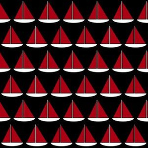 Dark Red and White Sailboats on Black