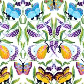 watercolor butterfly damask